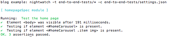 Results from the tests are displayed in the console